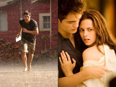 Imagen de la película Amanecer en la que aparecen Jacob (Taylor Lauther), Edward (Robert Pattinson) y Bella (Kristen Stewart)
