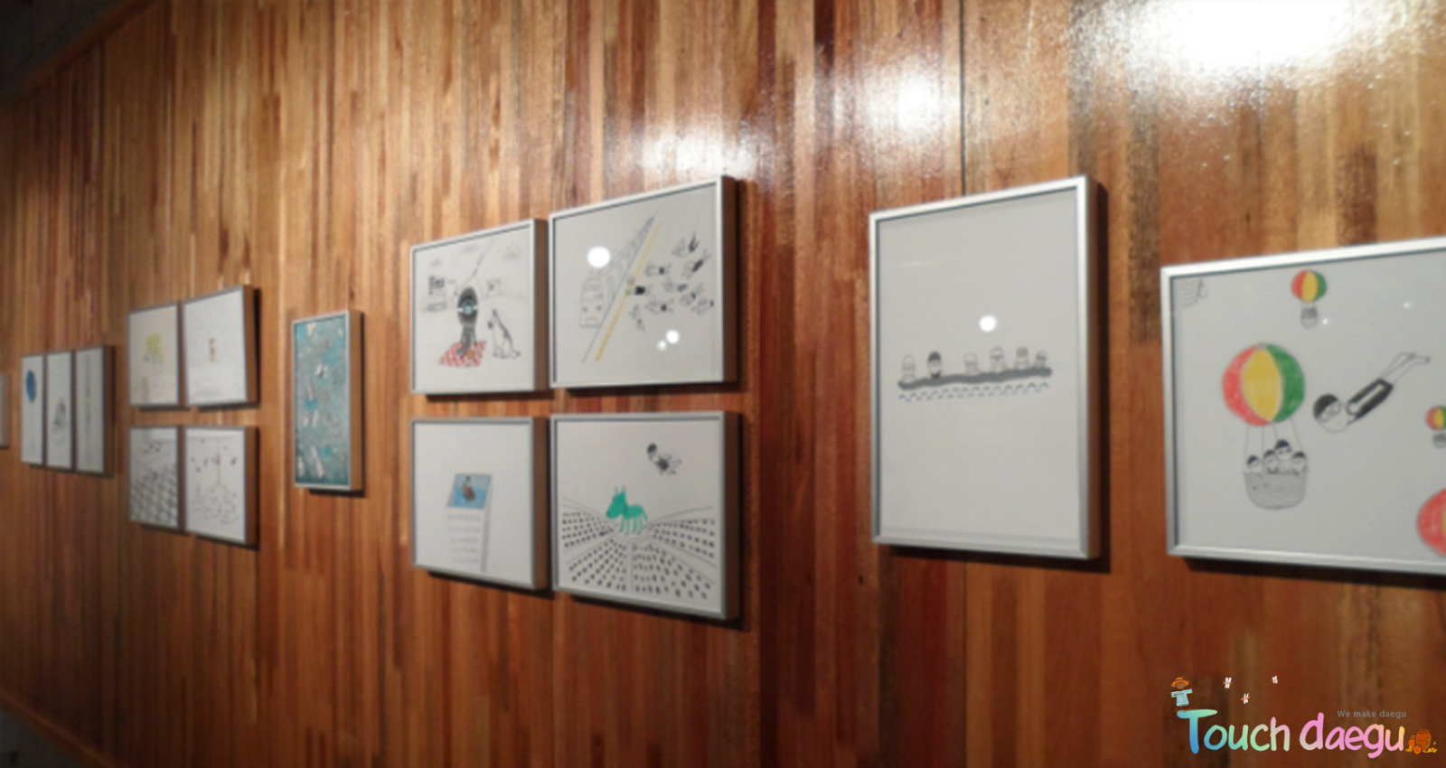 Drawings of Kim enyeong,are hanging on the wall
