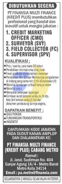 Bursa Kerja Lampung, sabtu 07 Februari 2015 di PT Finansia Multi Finance (Kredit Plus)