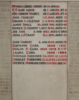 Example of memorial wall plaque in Chapel at St. Mary's Roman Catholic Cemetery in London.