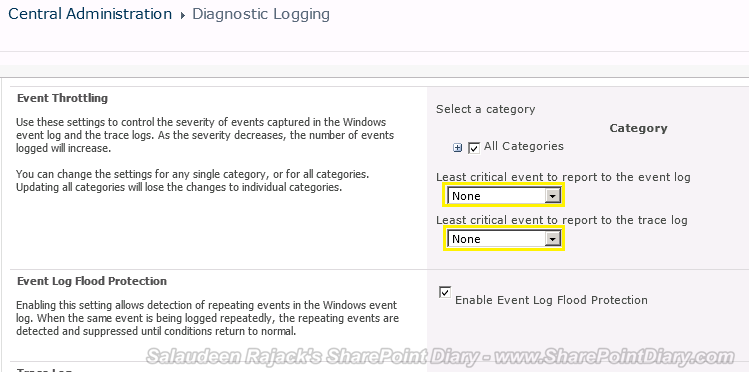 sharepoint 2010 diagnostic logging categories
