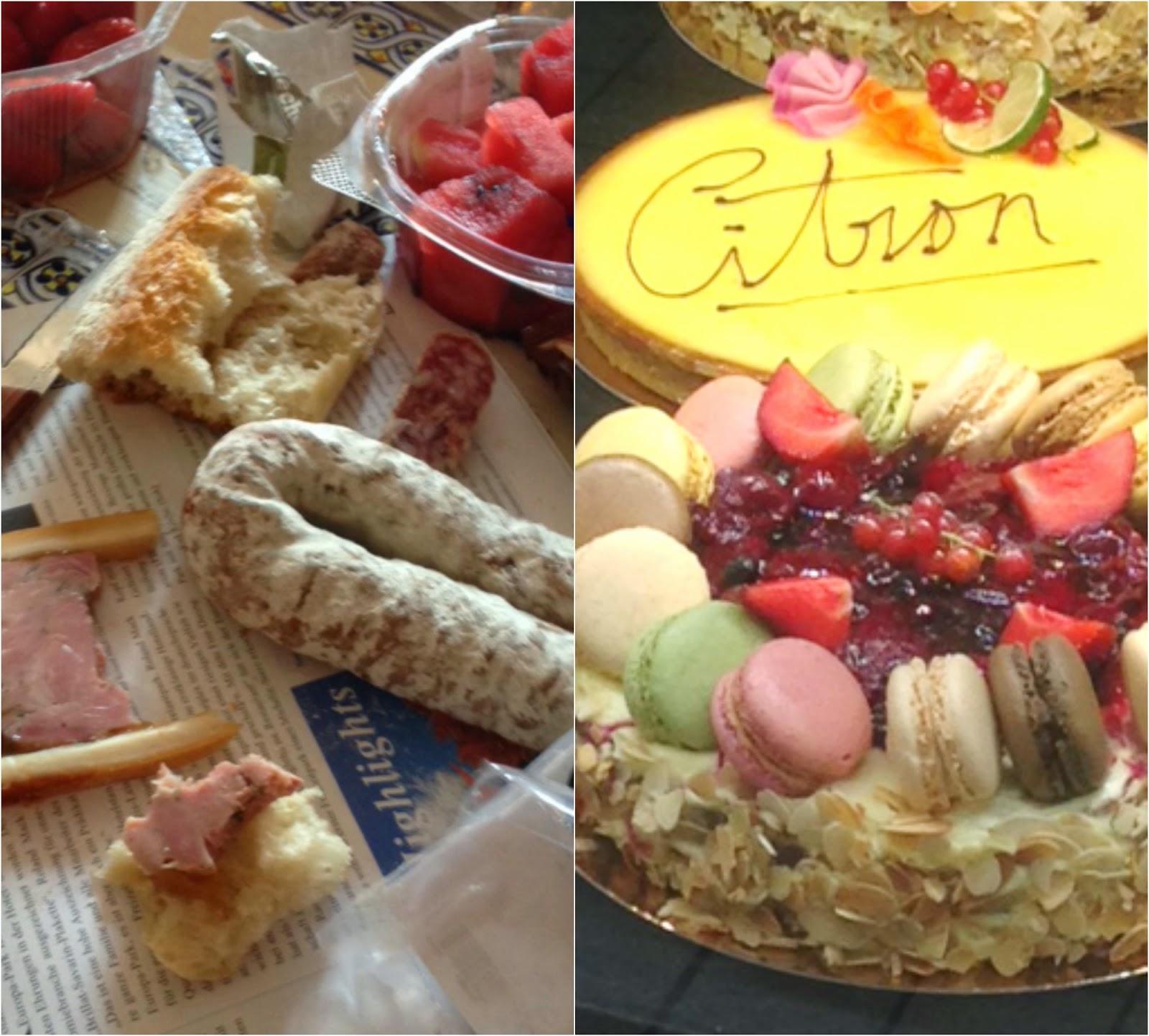 Wir haben einen wunderbaren Ausflug in den Europapark gemacht - mit einem kleinen Abstecher über das Elsass. Links unser kleines Picknick, rechts die Macaron-Torte, die aber in der Vitrine bleiben durfte...