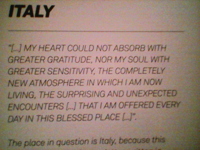 great Eisher about italy