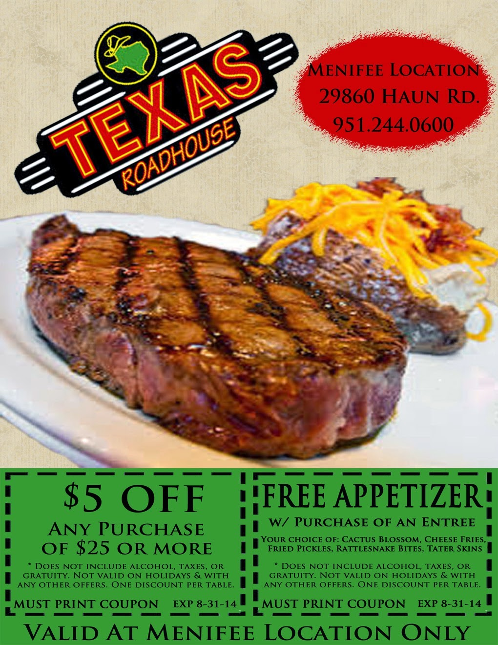 texas roadhouse coupon appetizer