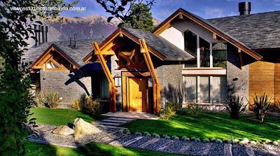 Casa de madera y piedra diseño chalet