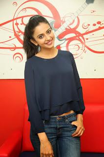 Actress Rakul Preet Singh Pictures in Jeans Gallery at Big FM 11.JPG