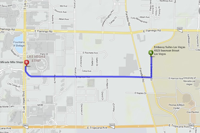 Map of Miracle Mile Shops and the Las Vegas Strip 3 minutes and 1.5 mile from Embassy Suites Las Vegas