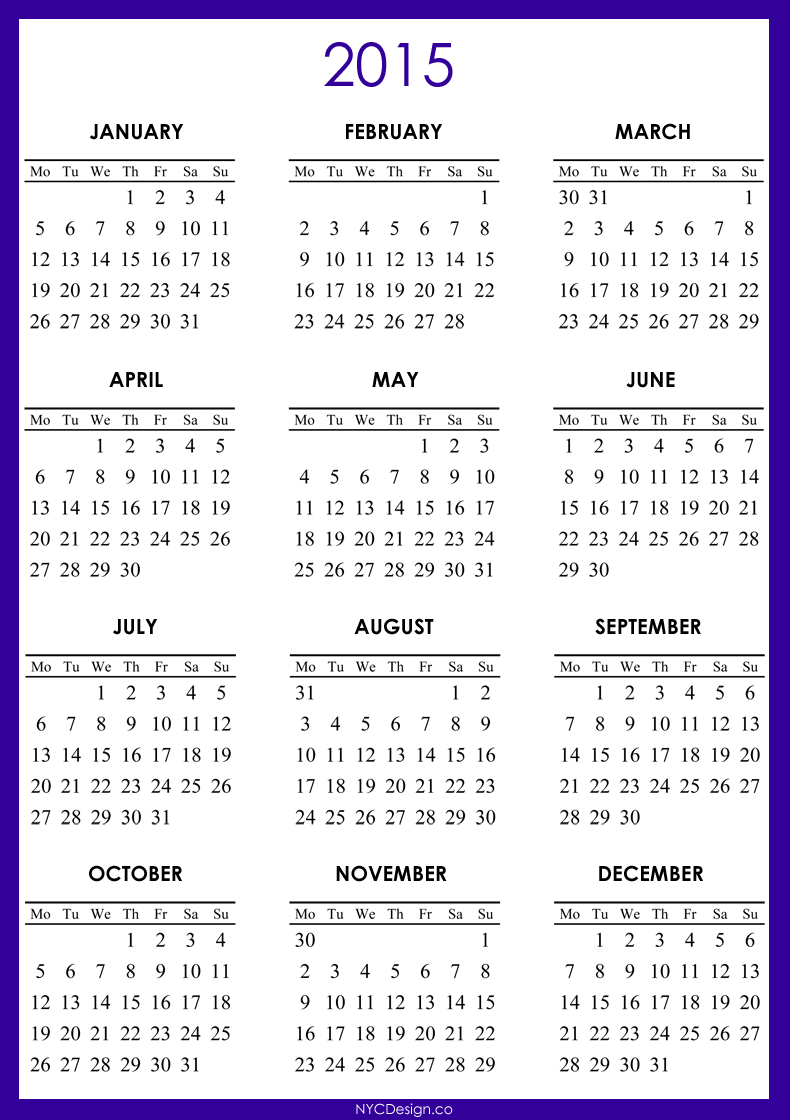 Printable 5 X 7 2015 Calendars View Image
