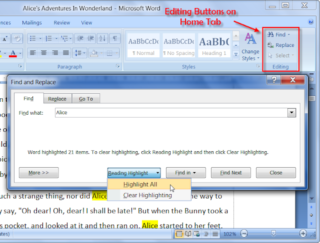 Find & Replace Dialog Box of MS Word 2007