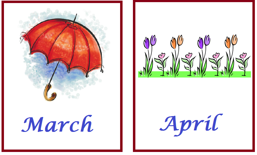 Kindergarten Worksheets: Months of the Year Flash Cards - 2