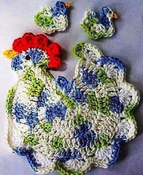 croche com receita galinhas cozinha decoração