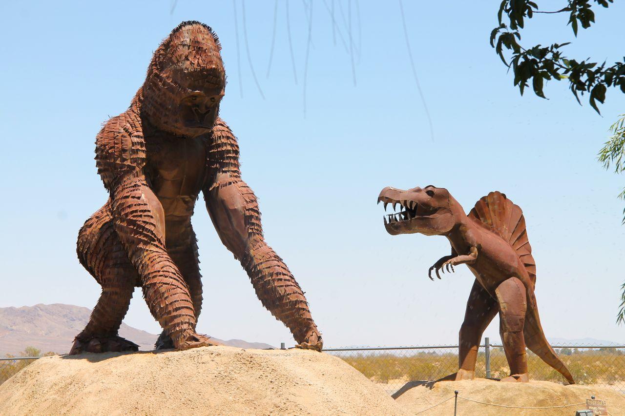 dinosaur and gorilla