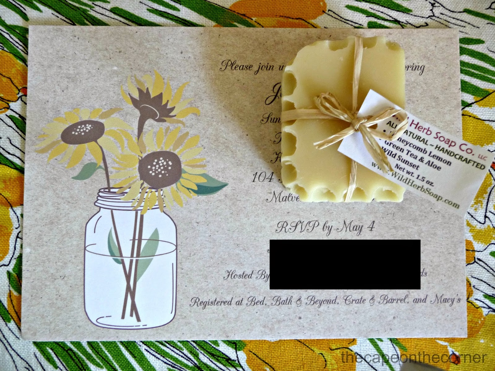 The cape on the corner a sunflower bridal shower does this invitation filmwisefo Images