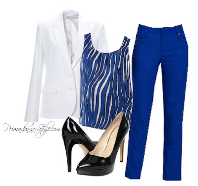 Victoria's Secret Long & Lean One Button Blazer (in Coconut Milk)  Dana Buchman Zebra Pleated Charmeuse Top  Calvin Klein Slim Pants  Nine West 7Proudly  Necklace: (old) Forever 21