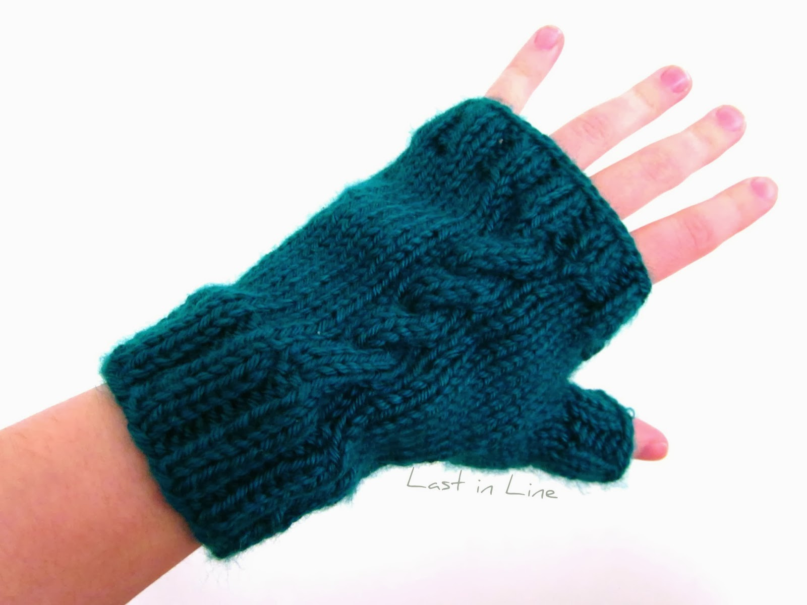 Free Knitting Pattern for fingerless gloves by Clarissa Knits. Forever Last in Line