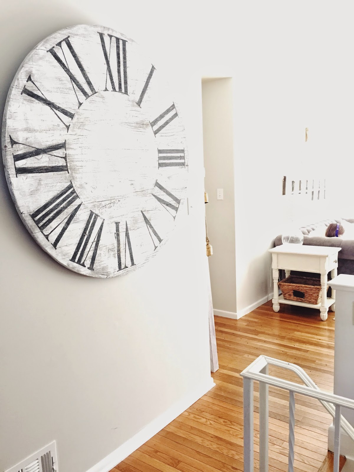 Caught in grace giant wall clock diy i know there are clock kits you can buy to turn it into a real working clock but im kinda loving it the way it is right now amipublicfo Gallery