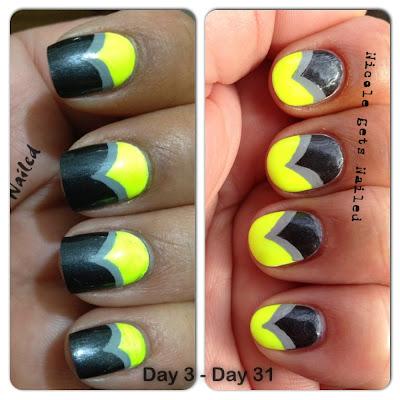 Neon Yellow with Grey Chevron