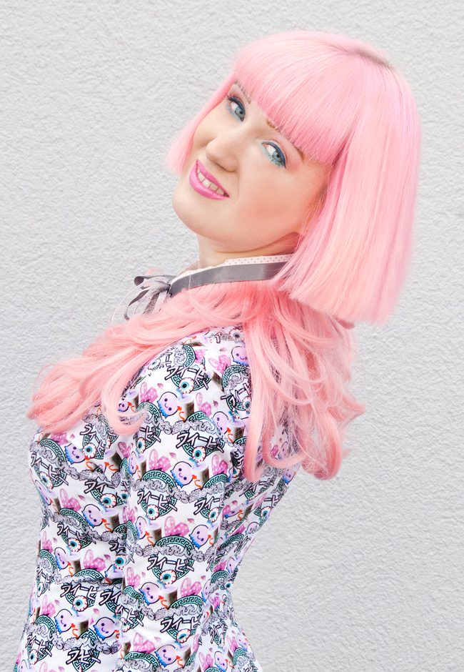 Illustrated People, Harajuku dress, pink hair collar