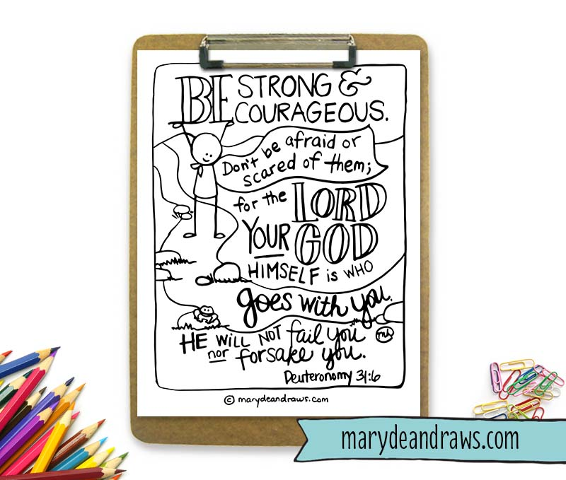 Wrestling Fears And Finding Peace Strong Courageous Deuteronomy 316 Printable Coloring Page