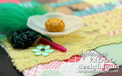 Ribbon Rose_Lime Green Lace Trim_Feathers_Heather Landry