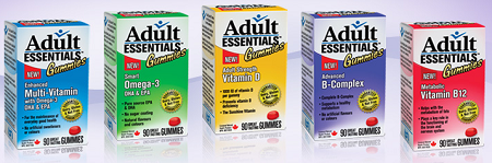 The various Adult Essentials Gummies that are available.