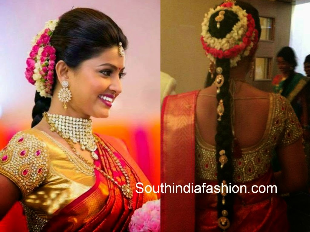 Sneha Prasanna Kundan Work Bridal Saree Blouse