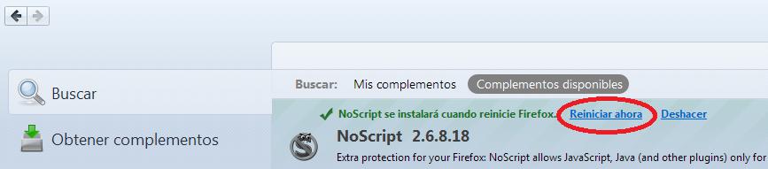Reiniciar Firefox para completar instalación