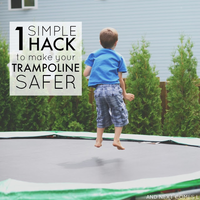 1 simple hack to make your trampoline safer for kids from And Next Comes L