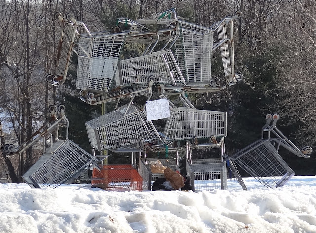 Street_Art,Bangor_Maine,Court_Street,park,Shopping_Carts,Sculpture,Winter