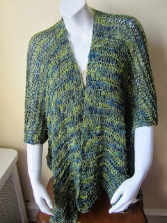 blue green ruano sweater poncho xl crochet by ElegantCrochets