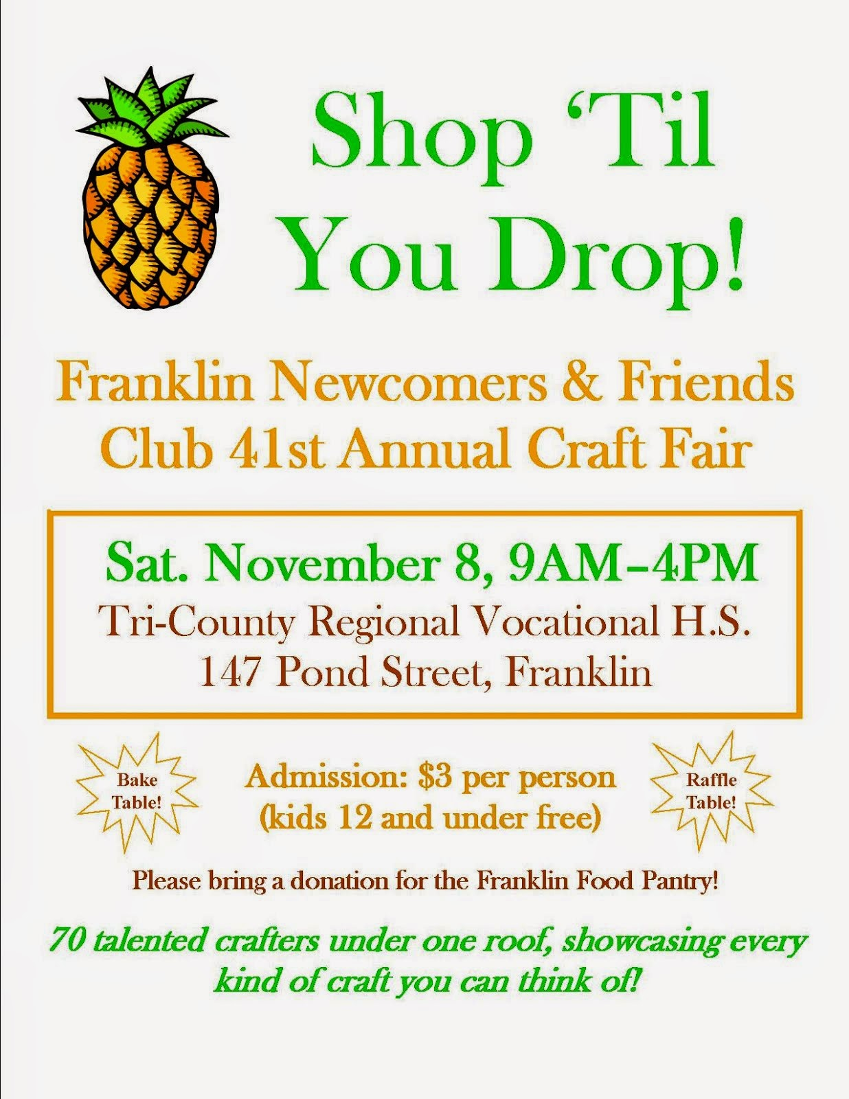 franklin matters newcomers craft fair nov 8th