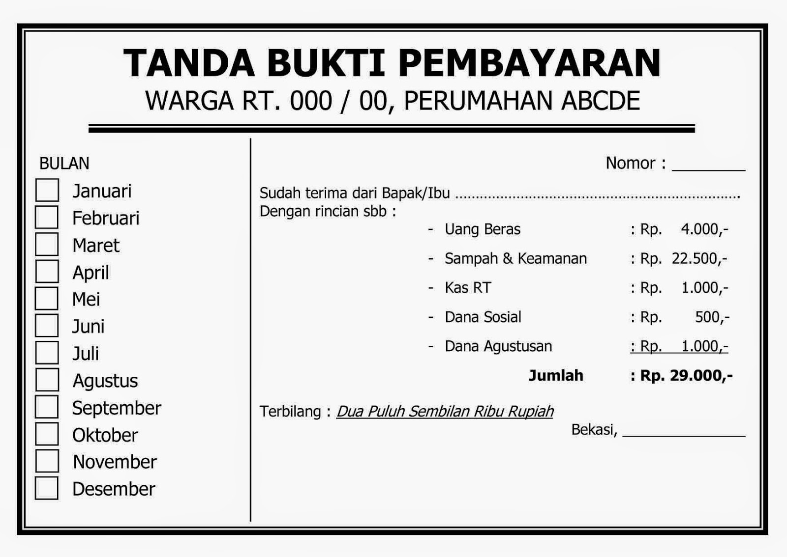 Contoh Form Tanda Bukti Pembayaran Iuran Rt Wisanggeni