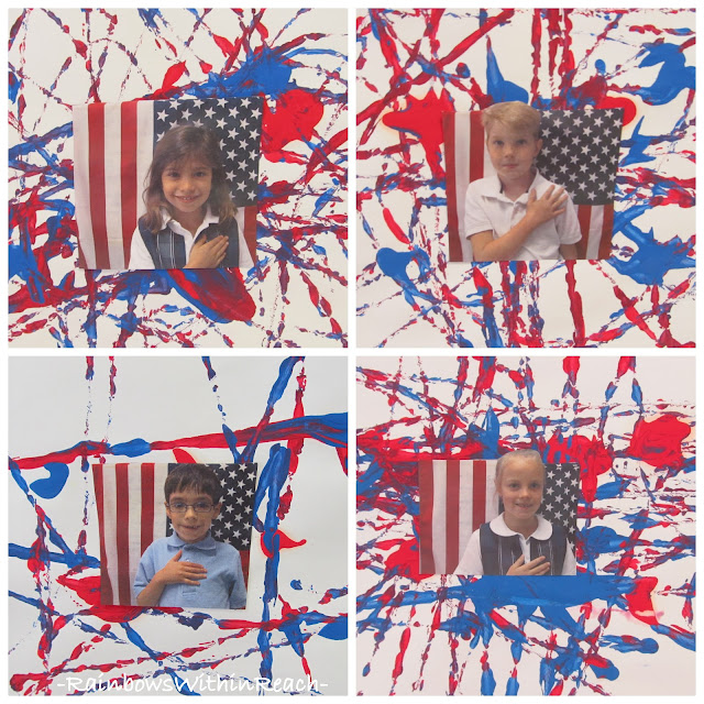Symbols of America project for children, kindergarten painting for Memorial Day