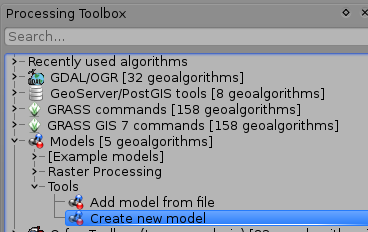 Processing toolbox location of 'Create new model tool'