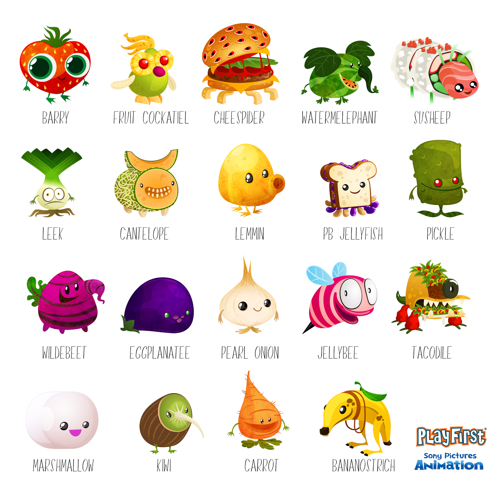 The Art of Maggie Tran: Foodimal Frenzy Artwork: Characters Cloudy With A Chance Of Meatballs 2 Characters Names