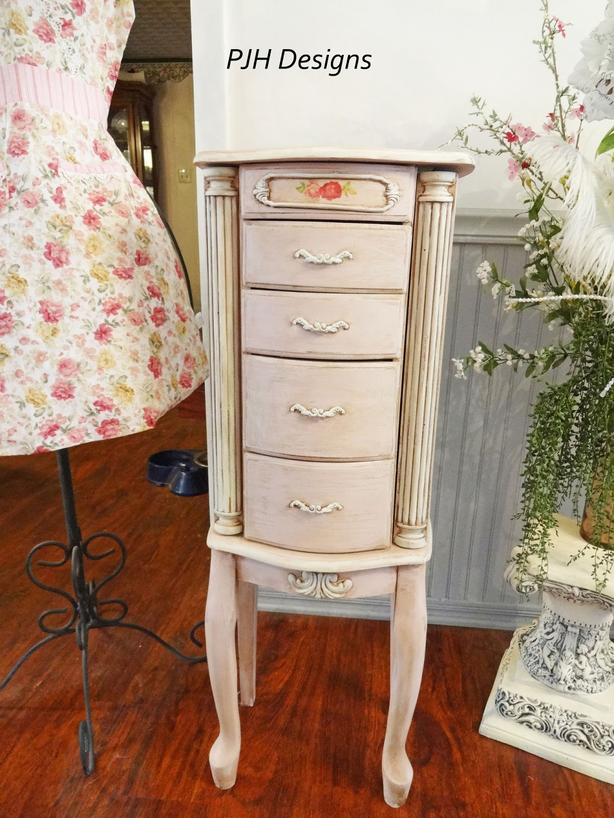 PJH Designs Hand Painted Antique Furniture Shabby Chic Pink Jewelry