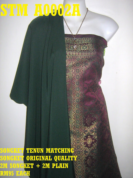 STM A0002A: SONGKET TENUN MATCHING, HIGH QUALITY, 2M SONGKET + 2M PLAIN