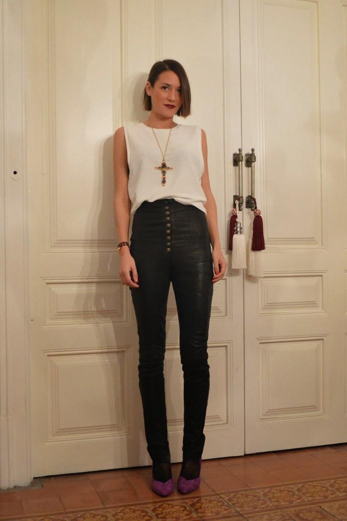 High-Waisted Leather Pants Lilac High Heels
