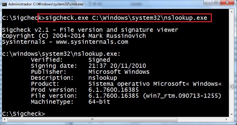 EXE del sistema sobre Windows 7 x64
