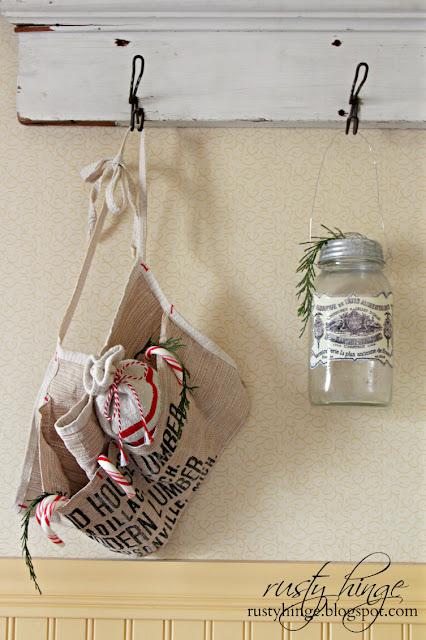 Rusty Hinge Christmas vintage lumber hardware apron