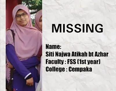 Mayat gadis pelajar Unimas ditemui terapung dalam parit, sarawak, pelajar unimas, pelajar hilang,