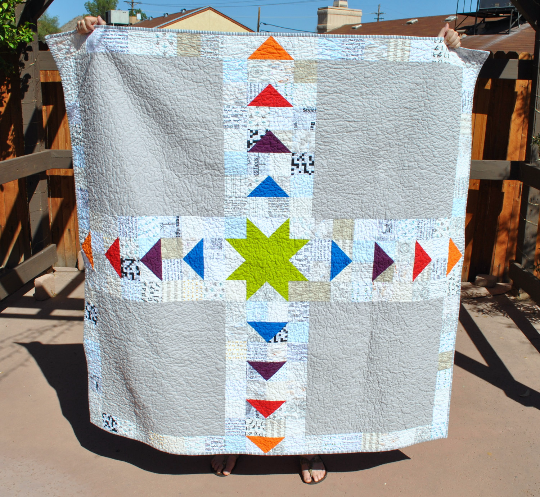 Rainbow star quilt front
