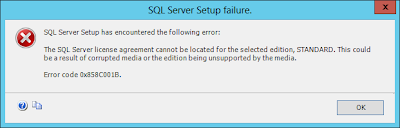 The SQL Server license agreement cannot be located