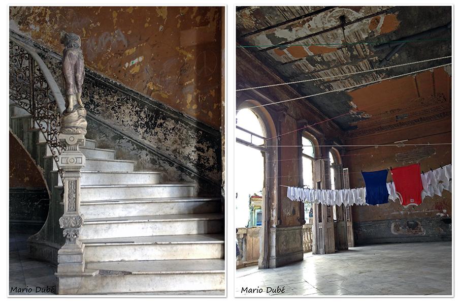 Hall décrépi d'un vieil immeuble
