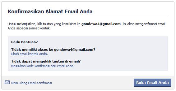 Konfirmasi alamat email daftar facebook