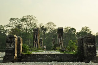 The ruins of a bridge over Jainti, Buxa Tiger Reserve, Dooars