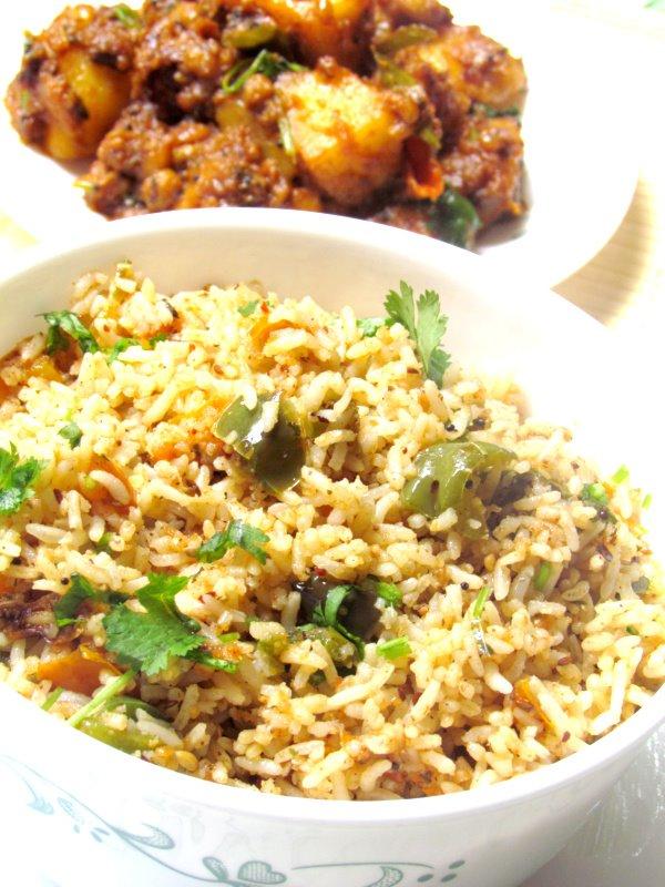Capsicum Rice For Blog Hop Wednesday