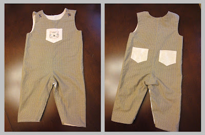 front and back views of my Jackie Clark Designs baby overalls