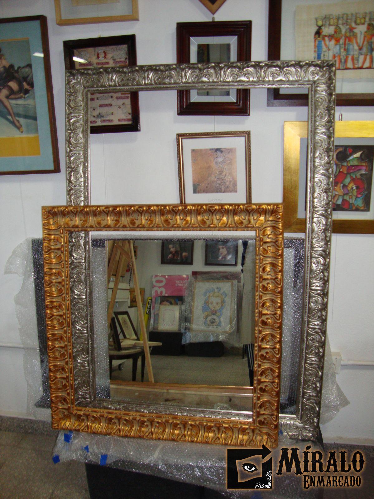 Espejos Plateados Espejo E Espejo En Madera Plateado