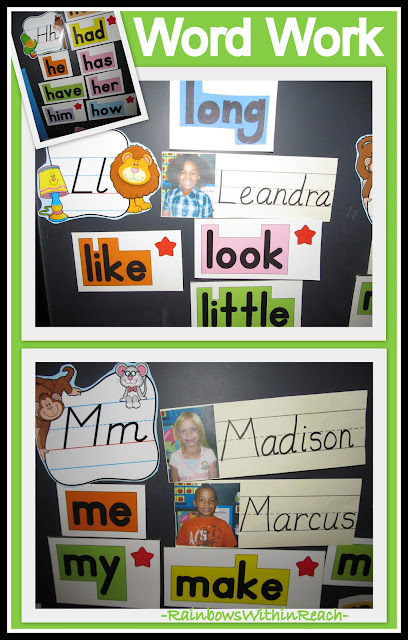 photo of: Word Work: Sight Words on Bulletin Board with Student Names + Photos on Word Wall
